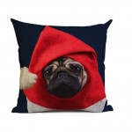 Cushion -Chritmas Pug Blue