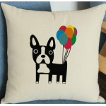 Cushion French Bulldog with Balloons