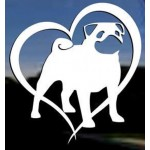 Sticker Pug Love-Free Postage- White