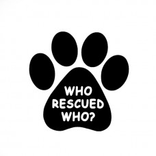 Sticker-Who Rescued Who? White